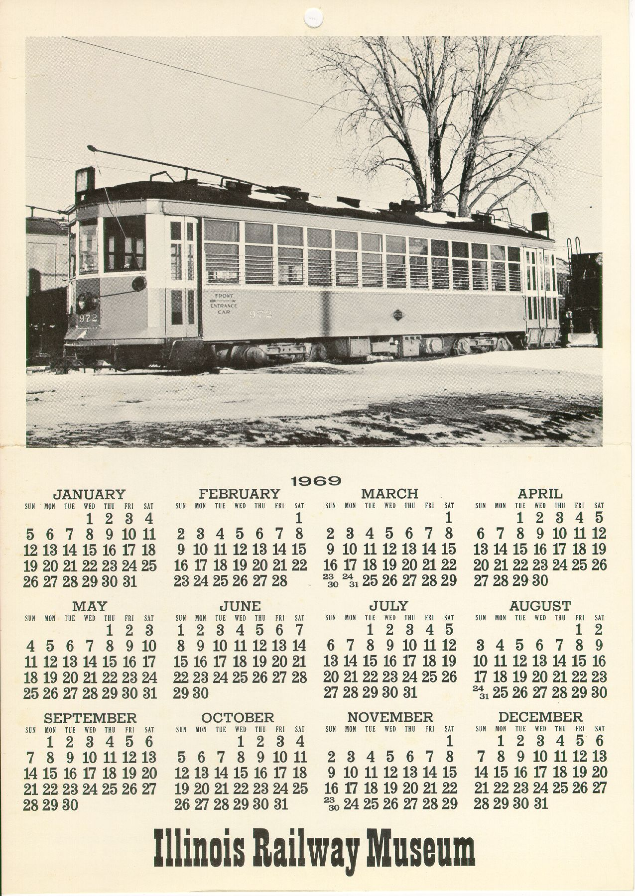 Calendar 1969.Illinois Railway Museum S Cta History Website