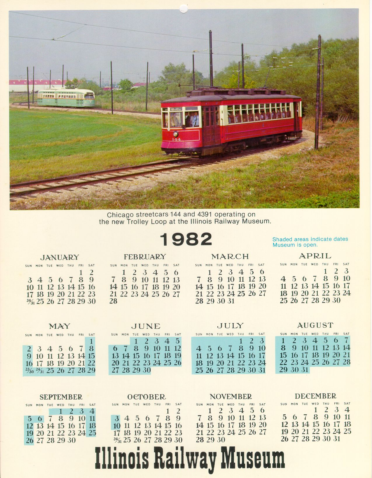1982 Calendar Telugu.Illinois Railway Museum S Cta History Website